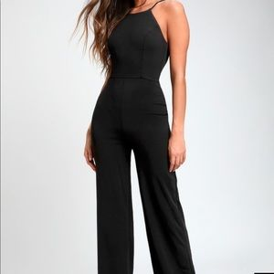 Lulu's black halter jumpsuit size small